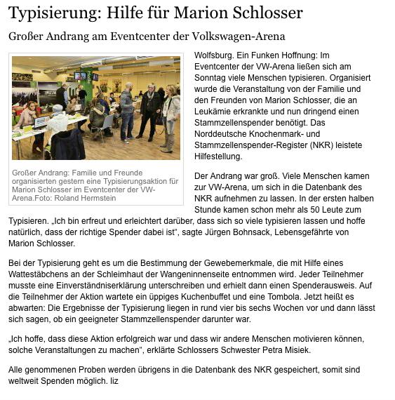 Typisierung: Hilfe für Marion Schlosser