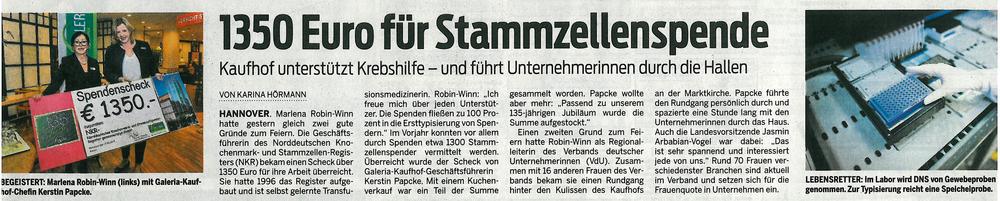 Neue Presse 1350 Euro für Stammzellenspende