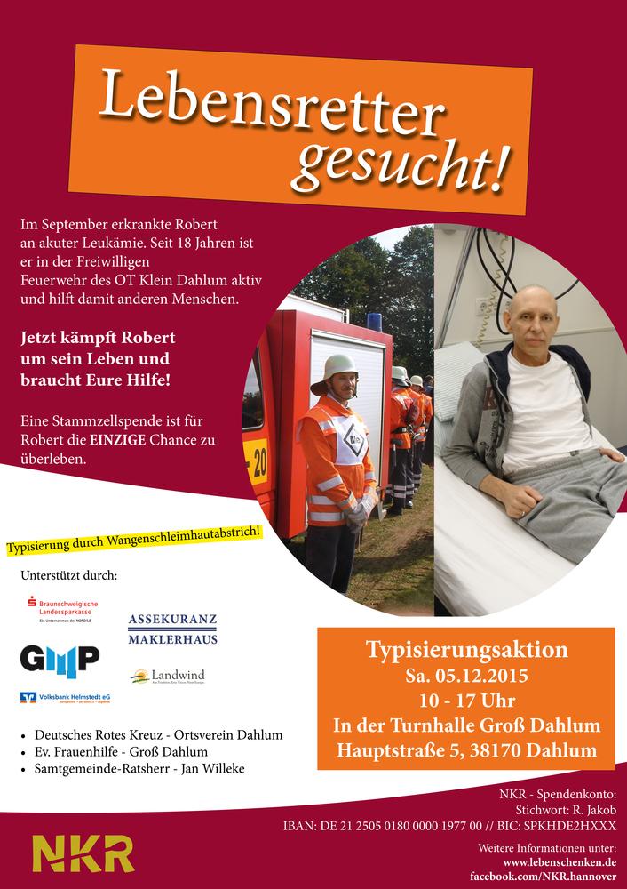 Typisierungsaktion am 5. Dezember in Groß Dahlum
